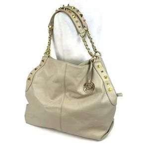 Bebe Large Vegan Leather Hobo Bag with Gold Studs